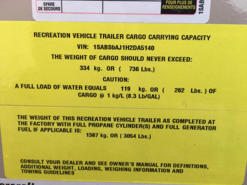 Comet Travel Trailer weight sticker